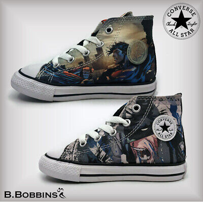 Converse DC Comics Batman & Superman Hi Top Trainers Boys Girls Infant UK 6 7 8
