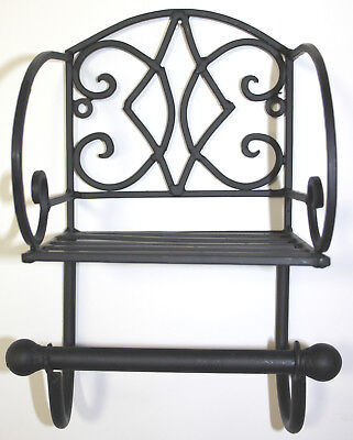 Black TOILET ROLL HOLDER, Shelf Wall hung Shabby Chic Wrought Vintage Scroll