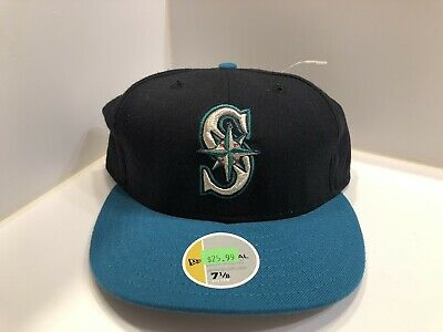 1d5a6cb8 Vintage Seattle Mariners New Era Fitted Hat Teal Brim Wool Size 7 1/8  Griffey