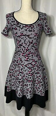 136dad6e46f Kate Spade New York  Cyber Cheetah  Sweater Dress Grey Pink Leopard Print  Sz.