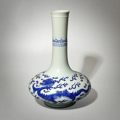 """Exquisite Chinese Blue And White Porcelain Dragons Vases Pot Collection 10.6""""H"""