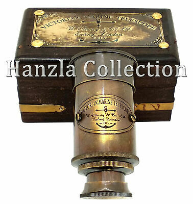 Details about Antique Brass Victorian Marine Telescope With Wooden Box Beautif