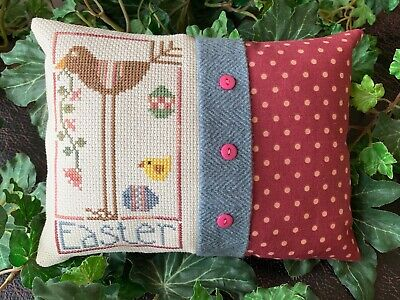 "Heart in Hand ""EASTER BIRD"" completed finished cross stitch handmade pillow"