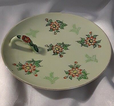 Vintage SEIEI & CO Candle Holder Plate w/Handle Trinket Dish Hand Painted 12