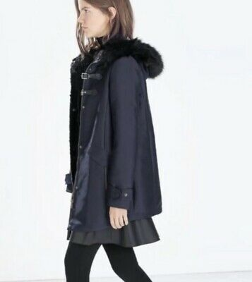 00924fd5 ZARA BLUE DUFFLE Coat With Toggles And Faux Fur Hood. Size XS.