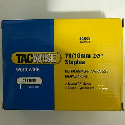 "new TACWISE 71/10mm 3/8"" Galvanised Staples Box of 20,000 Upholstery Crafts nice"