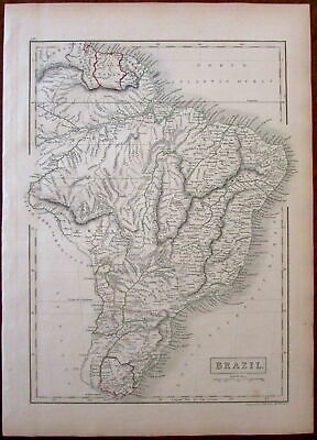 Brazil South America Guyana 1844 Sidney Hall engraved antique map hand color