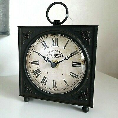 French Vintage Style Mantle Table Clock - Antique Coal Black