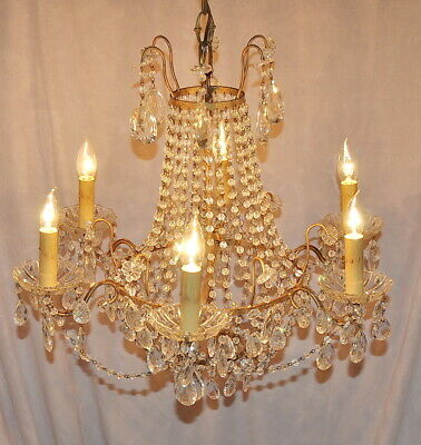Spectacular Antique Beaded Basket Chandelier 6 Lights Fully Restored Ready To Go