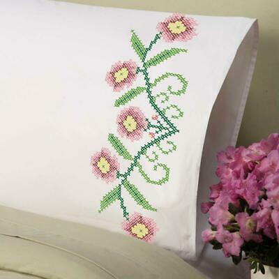 Herrschners/® Royal Bloom Pillowcase Pair Stamped Cross-Stitch