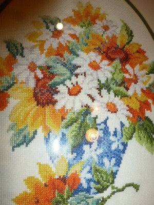 Cross Stitch Spring Fowers Double Mounted Framed Glazed Embroidered Picture