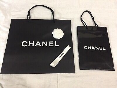 10725b6440b4 Lot of 2 Chanel Authentic Paper Shopping Gift Bags w/ Camelia Flower &  Ribbon