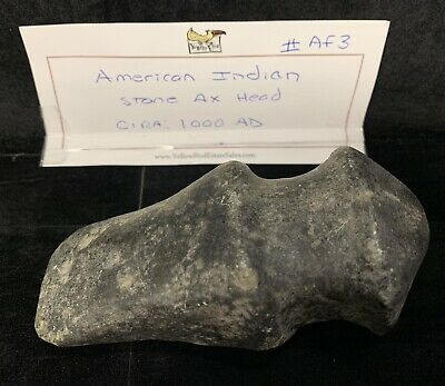 Rare Old Ancient Native American Indian Grooved Stone Artifact Hatchet Axe Head