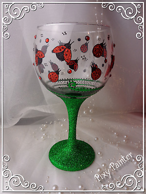 Ladybirds GIN Balloon Glass PERSONALISED Hand Painted Glitter Gift wrapped