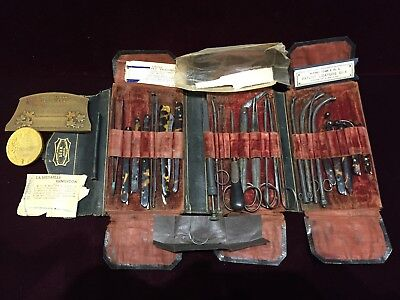 Antique LUER Dr.Baril Large Surgery Kit Made of Steel Sterling Silver and Shell