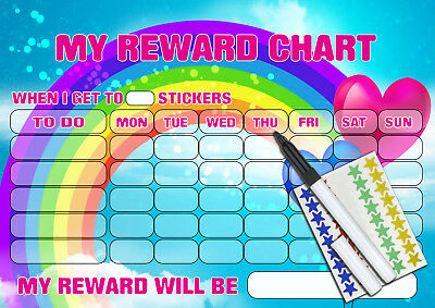 Personalised PINK RAINBOW STAR Re-usable Behaviour Reward Chart MAGNETIC