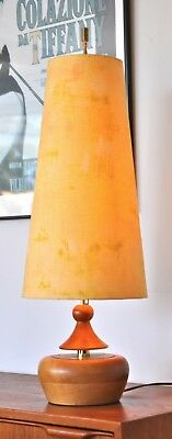 Danish mid century Modeline 'PASTINAK' myrtle table lamp Retro & new shade