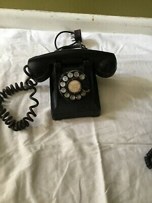 Antique Bell System Western Electric 302 Black Rotary Desk Telephone F1 Handset