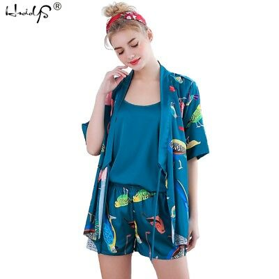 3Pcs Women Silk Satin Pajamas Set Floral Robe Sleepwear Nightgown Outfit Pjs Set