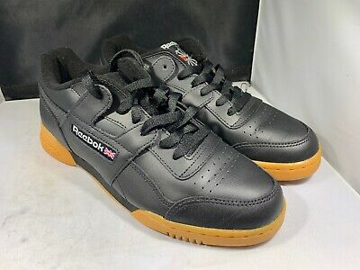 dcc9aaec6378c6 Reebok Mens Workout Plus Classic Black Gum Tennis Shoes Size 8  cn2127 (125)