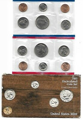 1985 P+D U.S. Mint Set of 10 total US Coins Uncirculated in Original Mint Pack