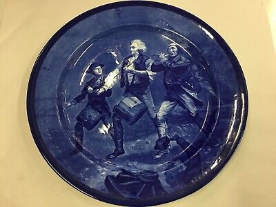 ANTIQUE CAULDON BLUE WILLOW DRUMMING MARCHING SCENE CABINET DISPLAY PLATE 32cms