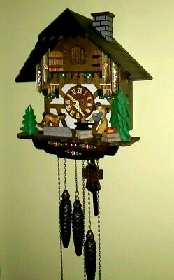 August Schwer German Cuckoo Clock. Reuge music box. 6 functions. Black Forest