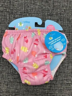Baby I Play Baby M Medium 12 Months Ultimate Swim Diaper Plaid Re-usable Pull On Swim Diapers