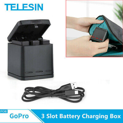 TELESIN 3-way  Battery Charger Dock Charging Box 2 in 1 for GoPro Hero 5 6 7 US