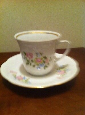 Chodziez White/Pink Floral Pattern China Cup Saucer Made In Poland Coffee Tea