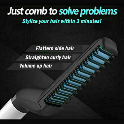 Mens Quick Beard Straightener Multifunctional Hair Comb Curling Curler Show Cap