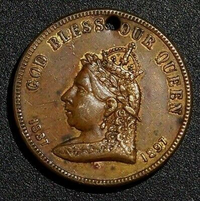 """Rare Token 60 Years """"PEACE PURITY PROSPERITY AND POWER IN CANADA"""" 1897 (6B)"""