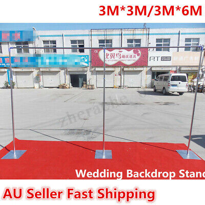 3/6Mx3M Wedding Party Backdrop Stand Stage Telescopic Pipe Pole and Base Kits AU