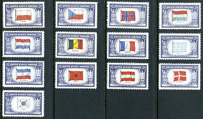 Stamps United States 1943 1944 Scott 909-921 Flags Overun Countries MINT Hinged