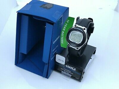 Casio Womens Watch Silver Black Tone Digital Illuminator Ladies Dual Time Watch
