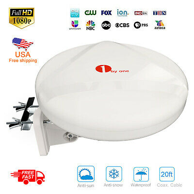 1Byone Outdoor Antenna Up 60Miles 360° Reception Amplified Omni-directional HDTV