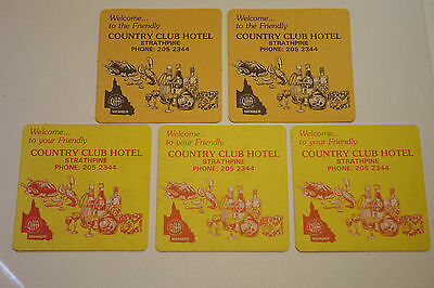 Collectable Vintage Retro Beer Coaster Country Club Hotel Strathpine Set of 9