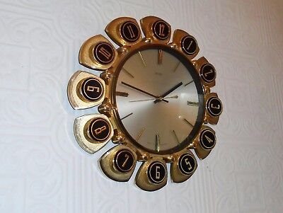 Fab Retro Vintage Mid Century Metamec Starburst Sunburst Type Gold Wall Clock