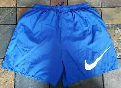 7c6a75d355 Vintage Nike Swim Trunks Shorts 90s Large Swoop Made in USA L Blue White