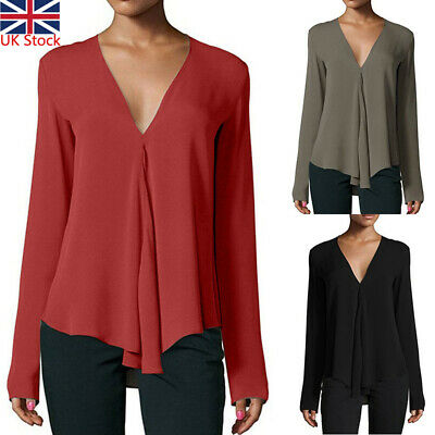 UK Ladies Women Summer V-neck Long Sleeve Casual T Shirt Tops Blouse PLUS SIZE