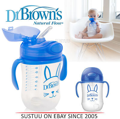 Dr Brown's Baby Weighted Spillproof Straw Cup│BPA Free│Dishwasher Safe│Blue│