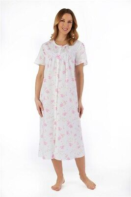 Ladies 100% Cotton Full Button Front Floral Nightdress Robe by Slenderella