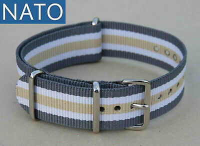BRACELET MONTRE NATO 20mm (gris blanc sable) chronograh military watch strap