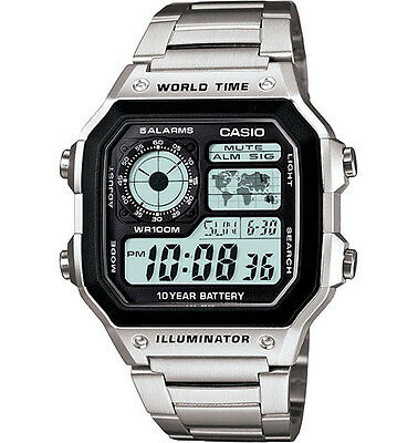 Casio AE1200WHD-1AV, Digital Watch, Chronograph, Alarm, World Time,10 Yr Battery