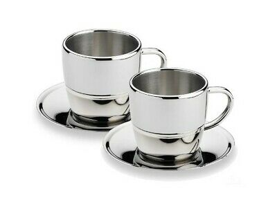 Grunwerg 2 Pack Espresso Coffee Cup & Saucer 18/10 Stainless Steel Double Wall