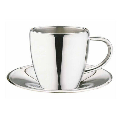 Grunwerg Espresso Coffee Cup & Saucer 18/10 Mirror Stainless Steel Double Wall