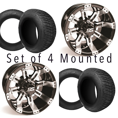 BLOWOUT Set of 4 - 10 inch Tempest Golf Cart Wheels on 205 50 10 Street Tires