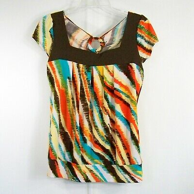 Heart Soul M Brown Orange Top Multicolor Abstract Print SS Poly Spandex Stretch
