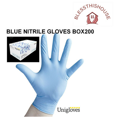 200 Blue Disposable Nitrile Powder & Latex Free Gloves S-Xl (Unicare) + Free Del