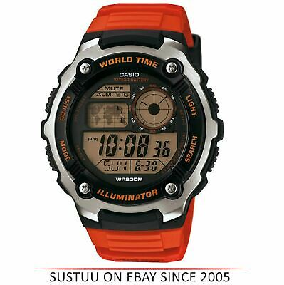 Casio AE2100W-4AVEF Men's Collection World Time LCD Watch│Orange Resin Strap│New